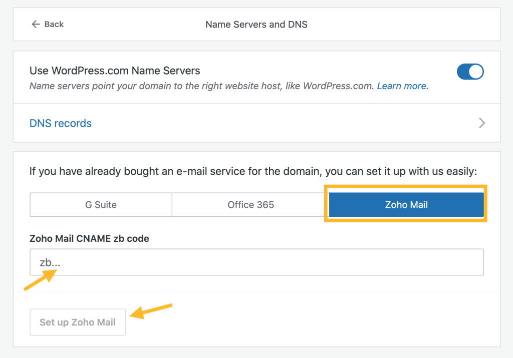 set up zoho mail on WordPress.com domain management section.