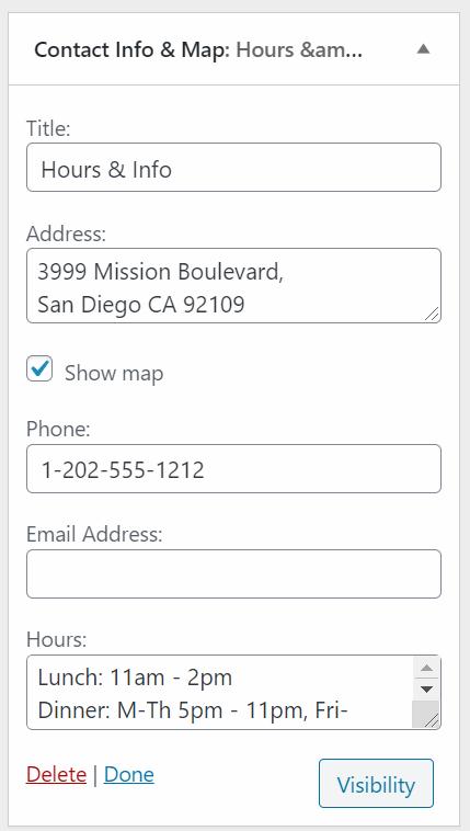 Contact Info & Map Widget Settings