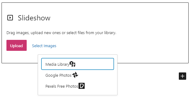 Example of how to add images from the Media Library, Google Photos or Pexels Free Photos using the Slideshow Block with the Select Images option..