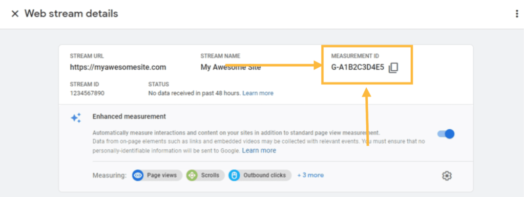 Google Analytics Measurement ID