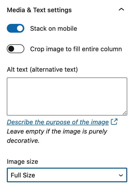 media & text block settings
