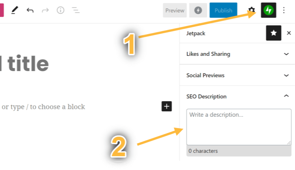SEO Description Setting Screenshot showing that the description is under Social Previews in the block settings.