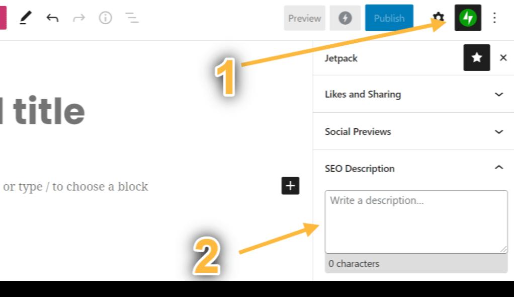 Captura de tela da configuração Descrição de SEO mostrando que a descrição fica em Visualizações de posts em redes sociais, nas configurações do bloco.