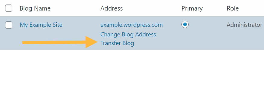 Transfer Blog option in My Blogs