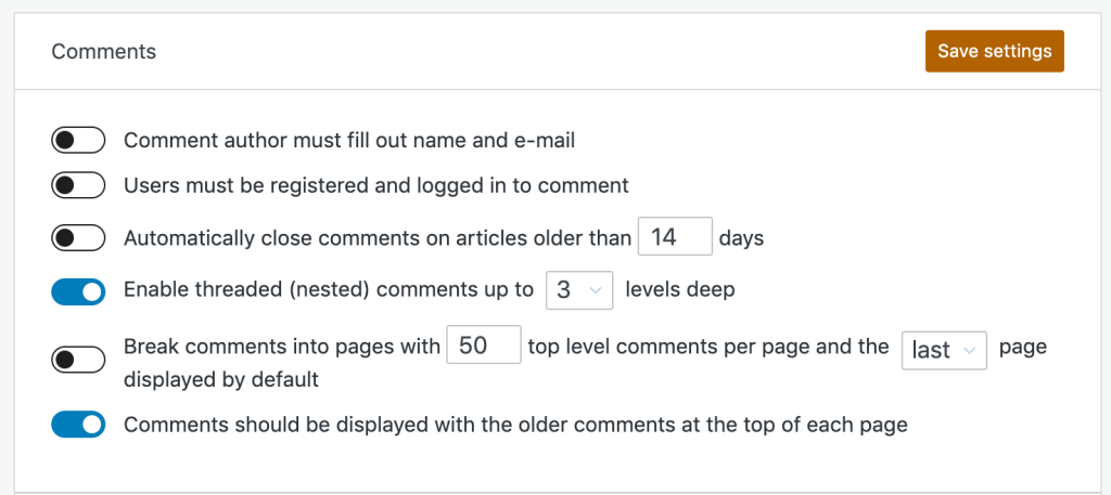 The Comment setting toggles section, displaying the options detailed in the list above, with a Save Settings button.