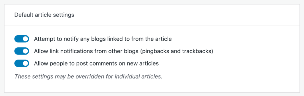"""The Default Article Settings toggles, with options for: Attempt to notify any blogs linked to from the article; Allow link notifications from other blogs (pingbacks and trackbacks); and Allow people to post comments on new articles. Followed by a note that states """"These settings may be overridden for individual articles."""""""