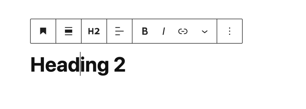 Heading block toolbar options, accessible from the block.