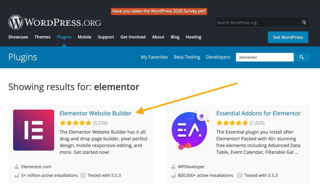 Exemple de page de résultats de recherche sur la page des extensions de WordPress.org, avec une flèche orange en regard de l'extension Website Builder d'Elementor