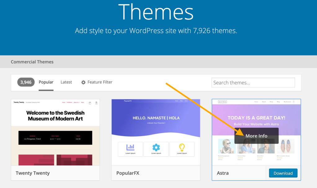 Exemple de page de recherche sur la page Thèmes de WordPress.org, avec une flèche orange en regard du thème Astra avec une zone noire indiquant Plus d'infos.