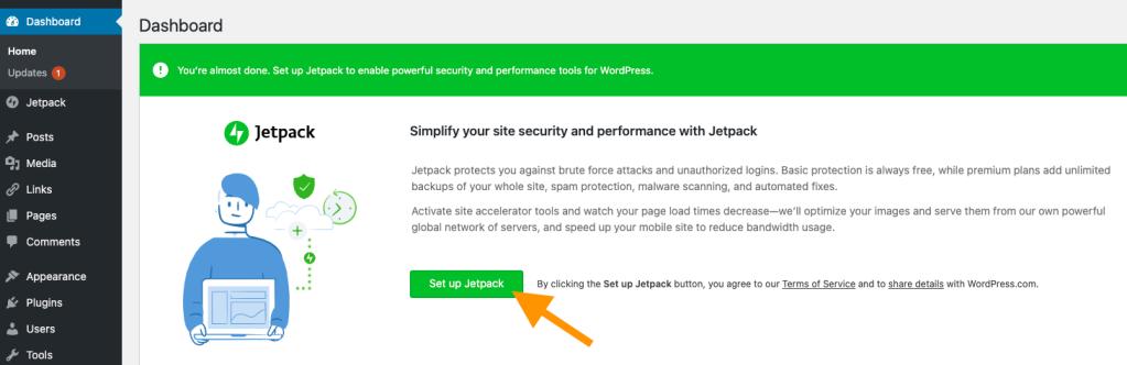 Captura de tela mostrando o módulo Jetpack com o título Jetpack: Simplifique a segurança e o desempenho do seu site com o Jetpack no WP Admin, e uma seta laranja apontando para o botão Configurar Jetpack.