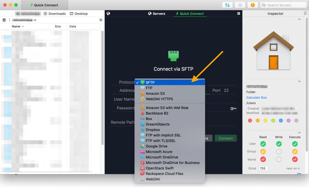 A sample Transmit screenshot. An orange arrow pointing to SFTP option
