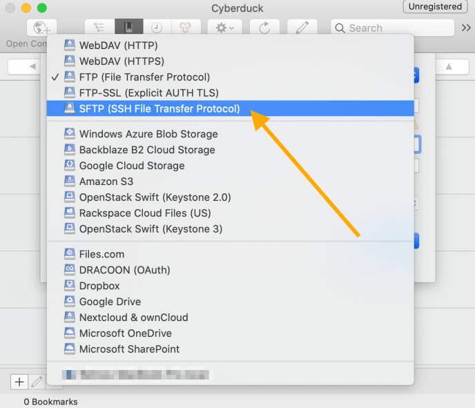 A sample Cyberduck screenshot with dropdown and an orange arrow pointing to SFTP (SSH File Transfer Protocol) option