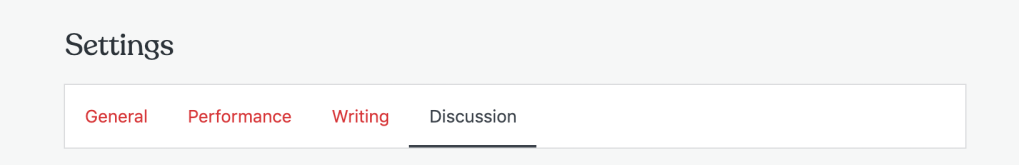 Screenshot of the heading section for the Settings tab, showing Discussion on the right side