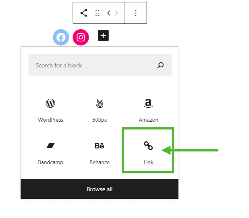 Image: Highlighting the generic Link option.