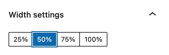 Buttons block width percentage