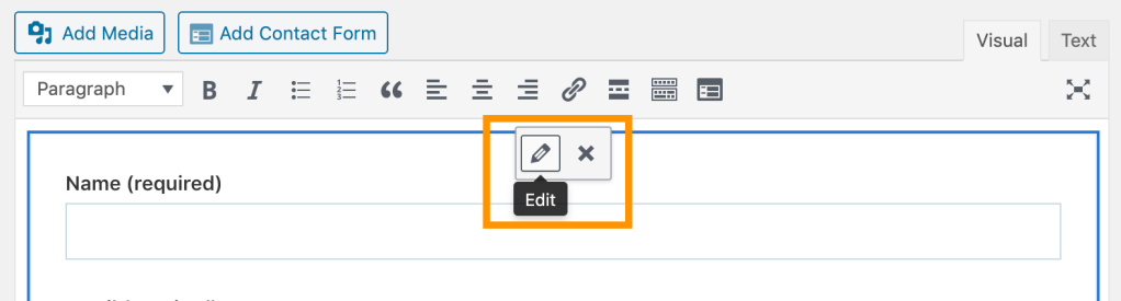 The Edit button at the top of the form allows editing of the form fields and how the submissions come through.