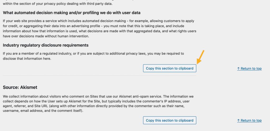 Imagem mostrando os botões de copiar para a área de transferência para copiar seções relevantes de um texto de política de privacidade