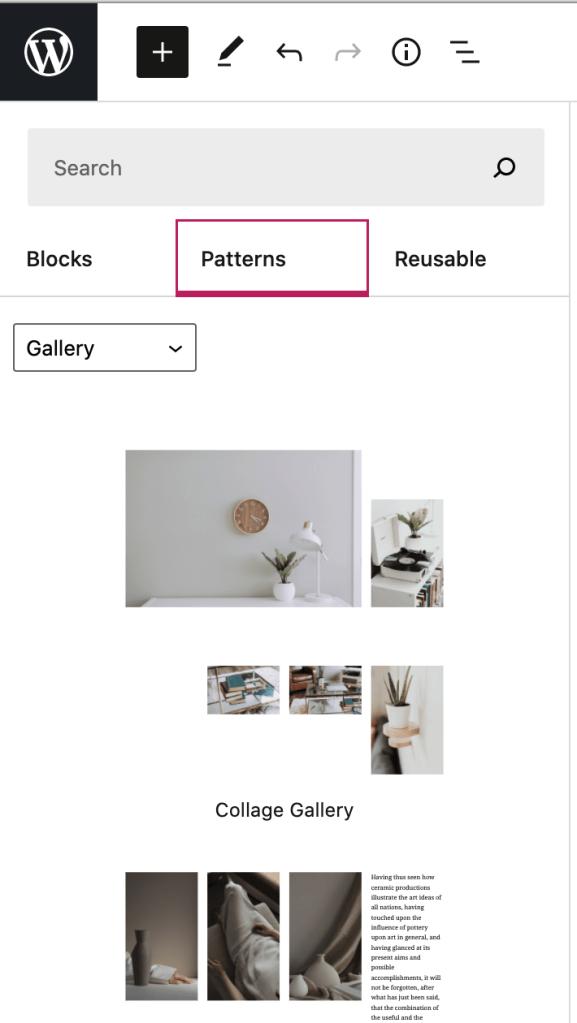 plusikonen i övermenyn expanderad och alternativet Mönster valt för att visa olika blockmönster som är tillgängliga.