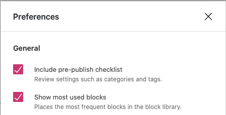 "the General Preferences with ""Show most used blocks"" checkbox checked."