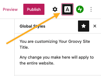 övermenyn med ikonen Globala stilar aktiv.