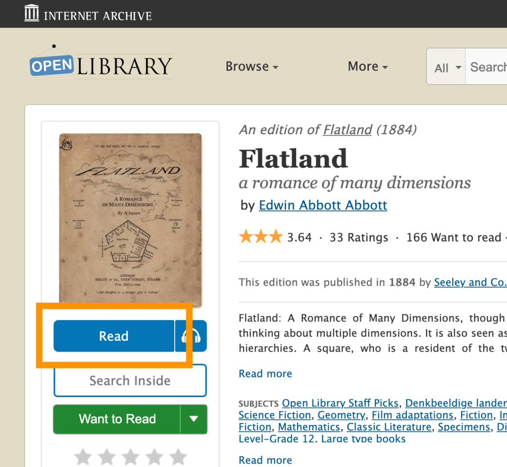 On Open Library, the Read button is located just underneath the book's thumbnail image, on the left side.