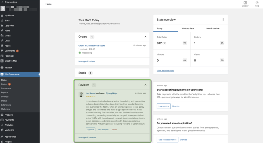 Reviews now shows on the main WooCommerce dashboard.