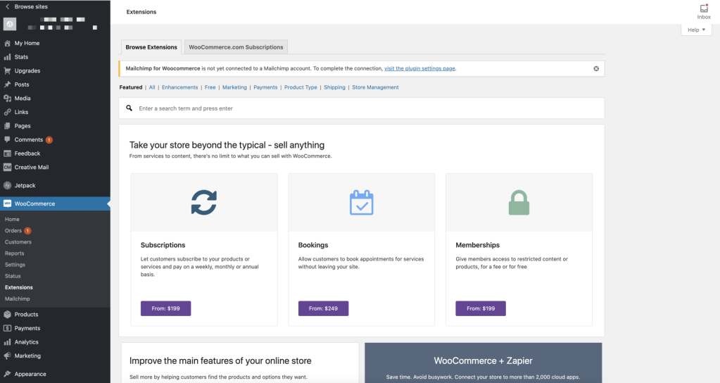 From WooCommerce > Extensions you can find more plugins to add functionality to WooCommerce or manage the existing ones.