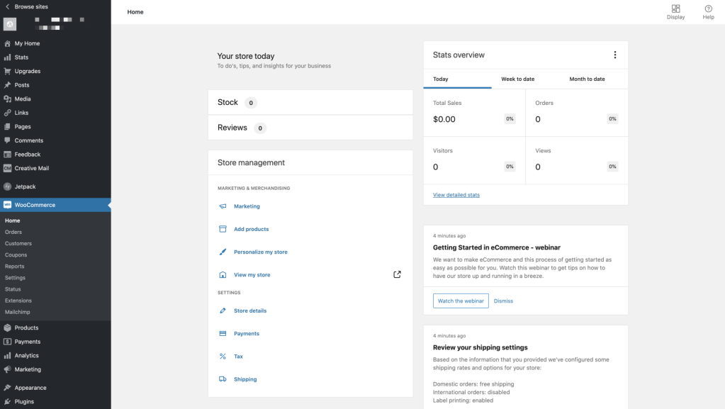 The new WooCommerce dashboard shows the items and settings you'll need to access most for your store.