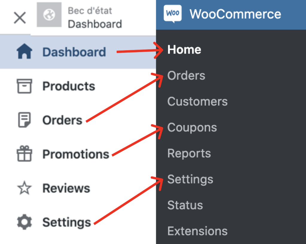 Diagram showing how old Store menu items map to the WooCommerce menu items.