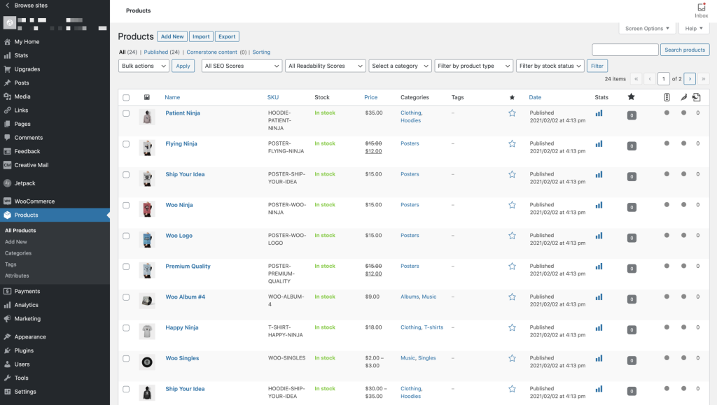 The new Products listing page has all the same information you're used to with even more, in columns.