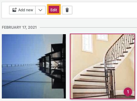 uma imagem selecionada com o botão Editar acima e uma caixa ao redor.