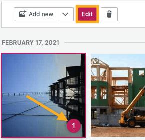 uma imagem selecionada com uma seta apontando para um número no canto inferior e o botão Editar acima com uma caixa ao redor.