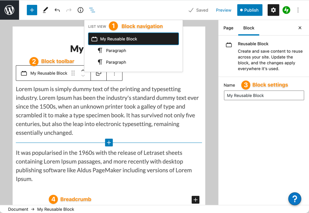 Page editor showing four locations to find the Reusable Block title, from the document Outline at the top, the block toolbar, the breadcrumbs toolbar at the very bottom of the editor, and in the sidebar settings on the right when the block is selected.