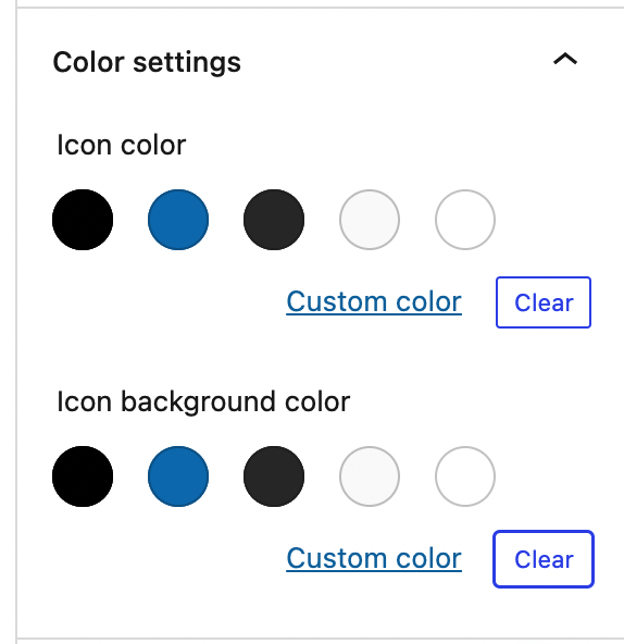 The Color Settings panel from the Social Icon block's Block Settings is displayed.