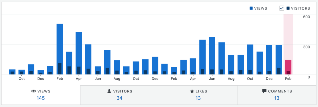 a bar graph of monthly views and visitors with counts of views, visitors, likes, and comments below the graph.