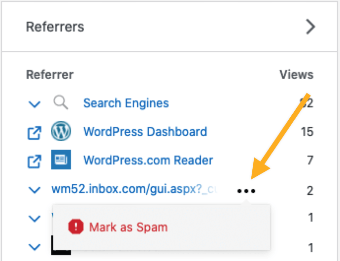 "the Referrers section with an arrow pointing to the ellipses menu where the option to ""Mark as Spam"" can be found."