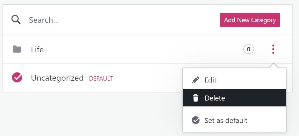 Como excluir uma categoria, com o botão Excluir realçado