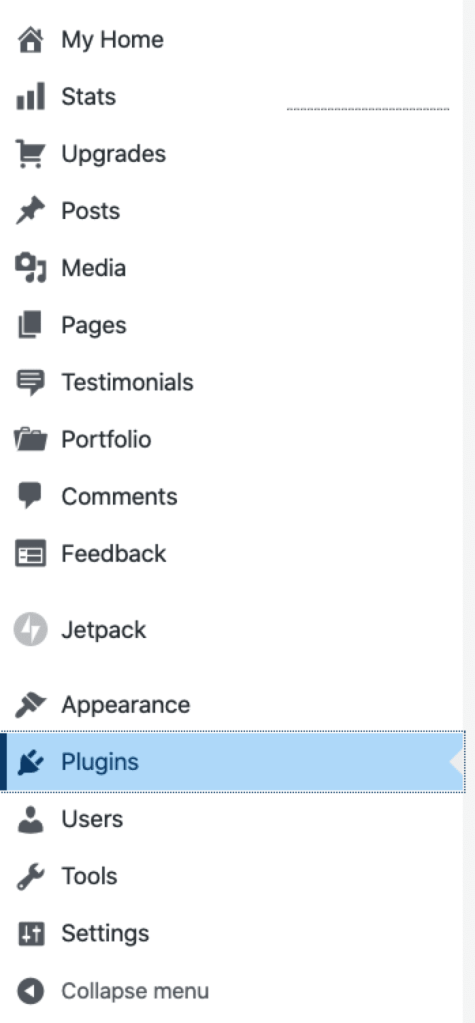 The Plugins menu option in the My Site dashboard.