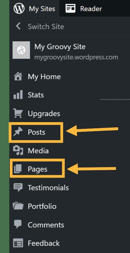 A navegação principal do WordPress.com com Posts e Páginas destacados em laranja