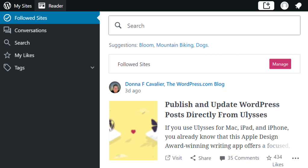 A screenshot showing the WordPress.com Reader