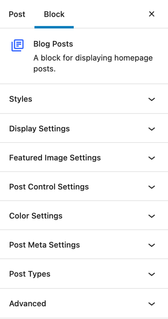 The Blog Posts block settings in the right sidebar