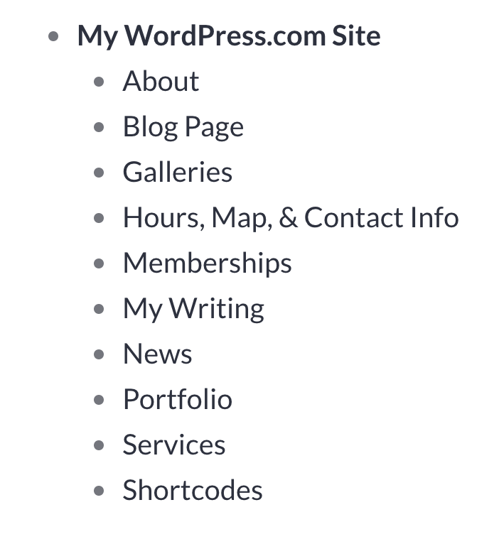 """A list of all pages on a site, under the main item """"My WordPress.com Site"""" each with a bullet symbol."""