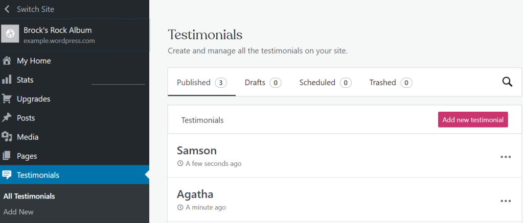 Testimonials dashboard, with two example testimonials showing.