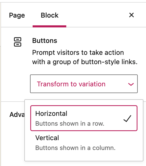 """Image of the """"Transform to variation"""" dropdown box on the Buttons block settings to arrange buttons horizontally in a row or vertically stacked in a column."""