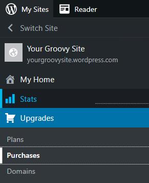 WordPress.com ナビゲーションメニューの「購入」