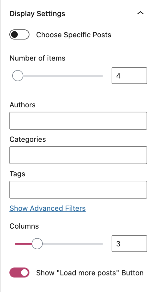 Display Settings on the Blog Posts block.