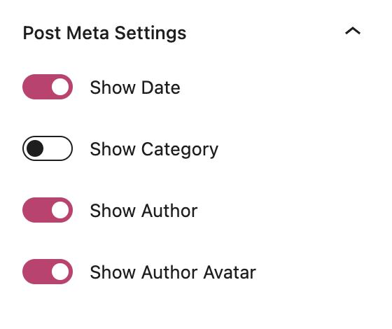 Post Meta Settings on the Blog Posts block.