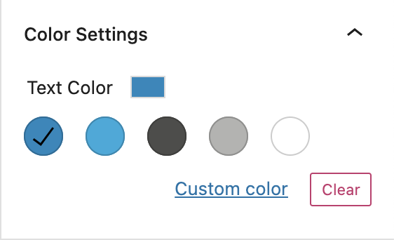 Text Color Settings on the Blog Posts block.