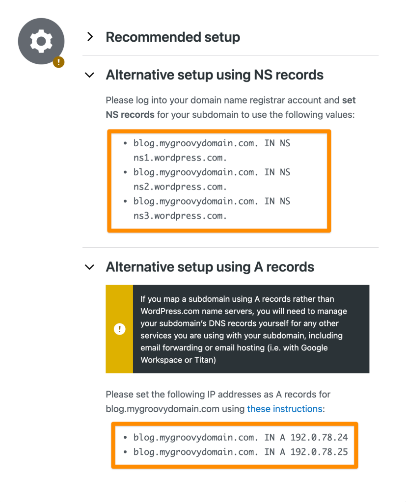 NS and A records to connect a sub-domain.