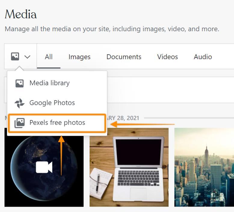 Selecione Fotos gratuitas do Pexels no menu suspenso de opções de mídia.